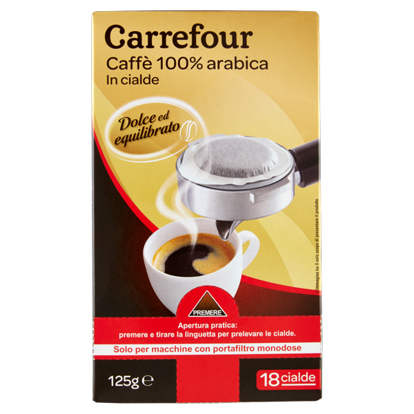 Image of Carrefour Caffè 100% arabica in cialde dolce ed equilibrato 18 x 6,95 g 1506450