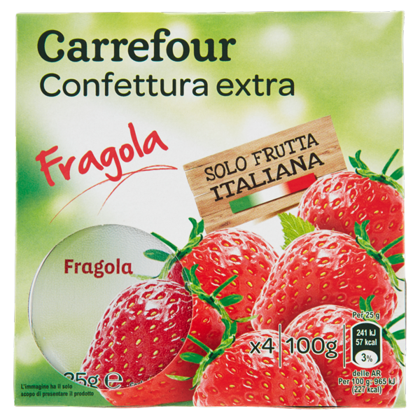 Image of Carrefour Confettura extra Fragole 4 x 25 g 1160220