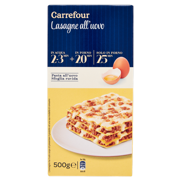 Image of Carrefour Lasagne all'uovo 500 g 1346071