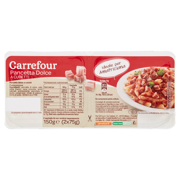 Image of Carrefour Pancetta Dolce a Cubetti 2 x 75 g 1569265