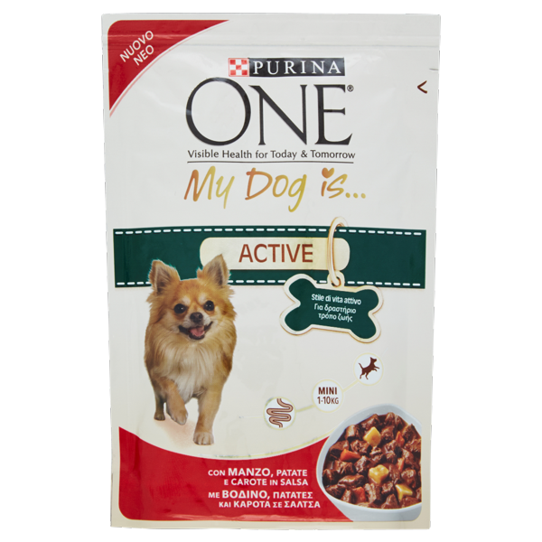 Image of PURINA ONE My Dog Is… Cane Bocconi in Salsa Active con Manzo, Patate e Carote Busta 100 g 1565593
