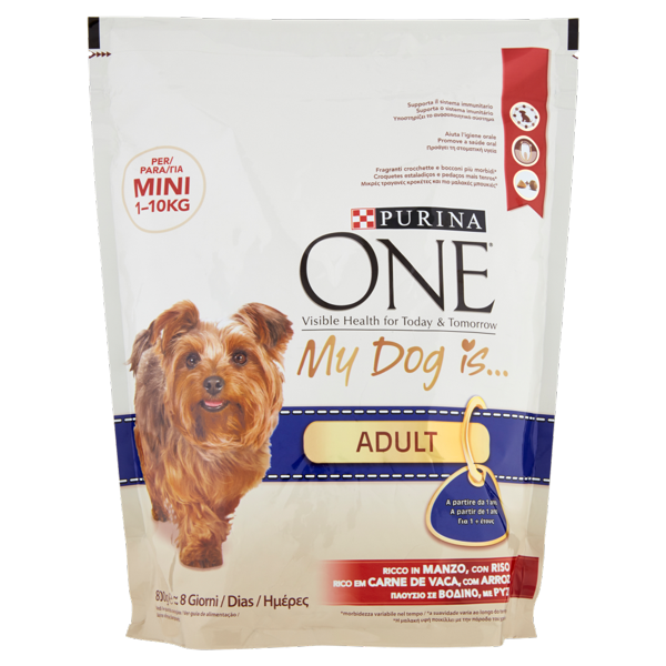 Image of PURINA ONE My Dog Is… Crocchette Cane Adult per cani 1-10kg Ricco in Manzo con Riso sacco 800 g 1463227