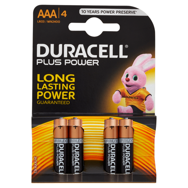 Image of Duracell Plus Power AAA LR03 / MN2400 1.5V Alkaline 4 pile 1473424