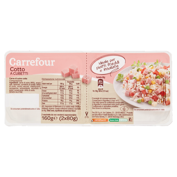 Image of Carrefour Cotto a Cubetti 2 x 80 g 1569148